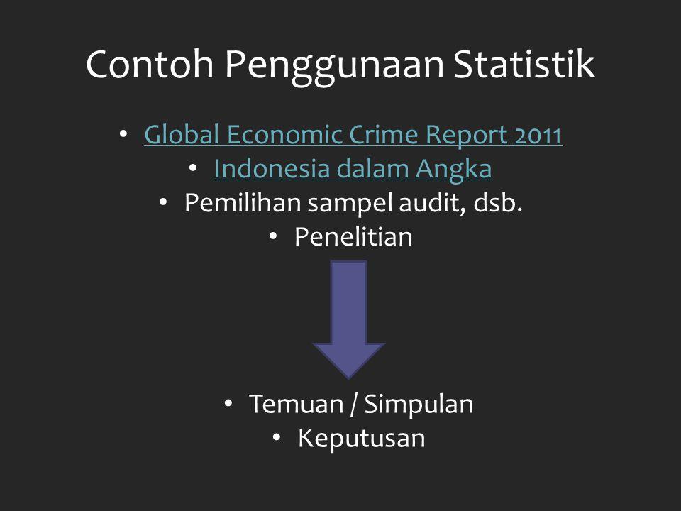 Contoh Penggunaan Statistik Global Economic Crime Report 2011 Indonesia dalam Angka Pemilihan sampel audit, dsb. Penelitian Temuan / Simpulan Keputusa