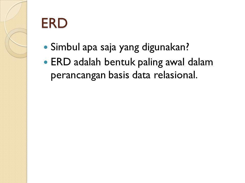 ERD Simbul apa saja yang digunakan? ERD adalah bentuk paling awal dalam perancangan basis data relasional.