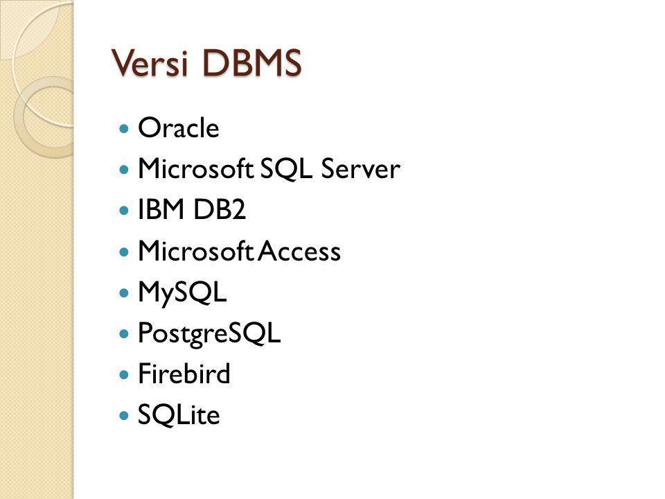 Versi DBMS Oracle Microsoft SQL Server IBM DB2 Microsoft Access MySQL PostgreSQL Firebird SQLite