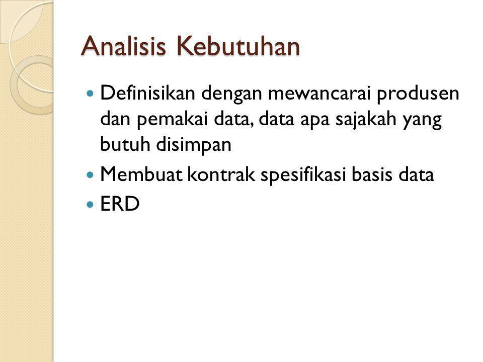 Analisis Kebutuhan Definisikan dengan mewancarai produsen dan pemakai data, data apa sajakah yang butuh disimpan Membuat kontrak spesifikasi basis dat