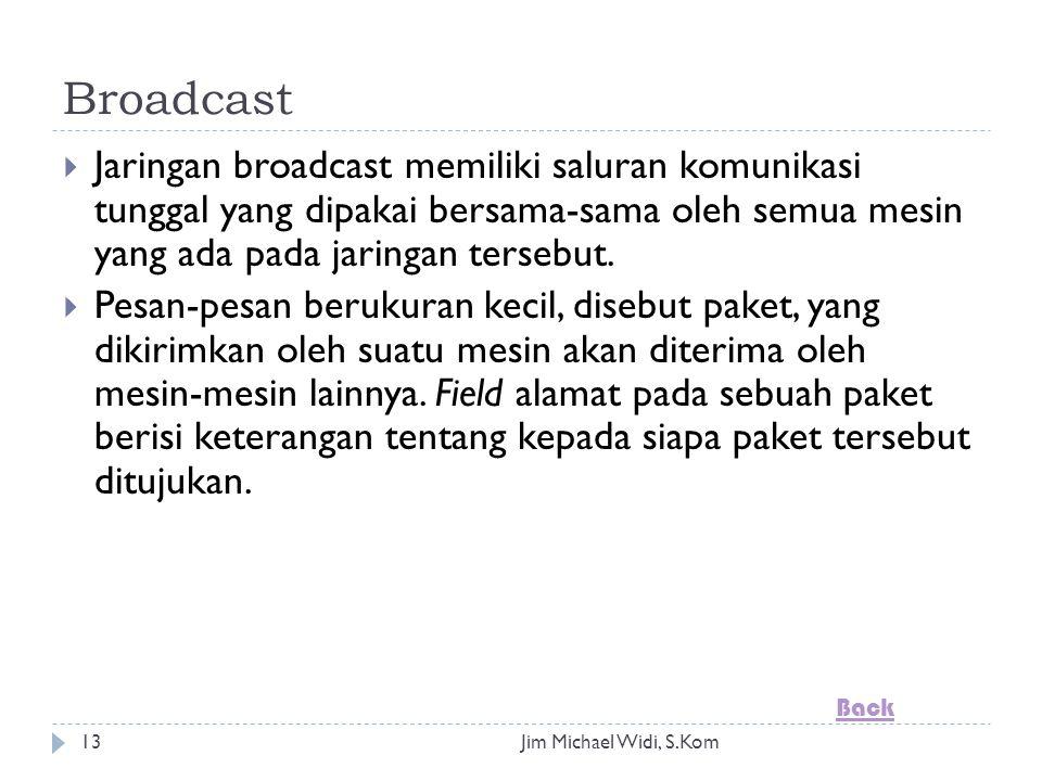 Jim Michael Widi, S.Kom13 Broadcast  Jaringan broadcast memiliki saluran komunikasi tunggal yang dipakai bersama-sama oleh semua mesin yang ada pada jaringan tersebut.