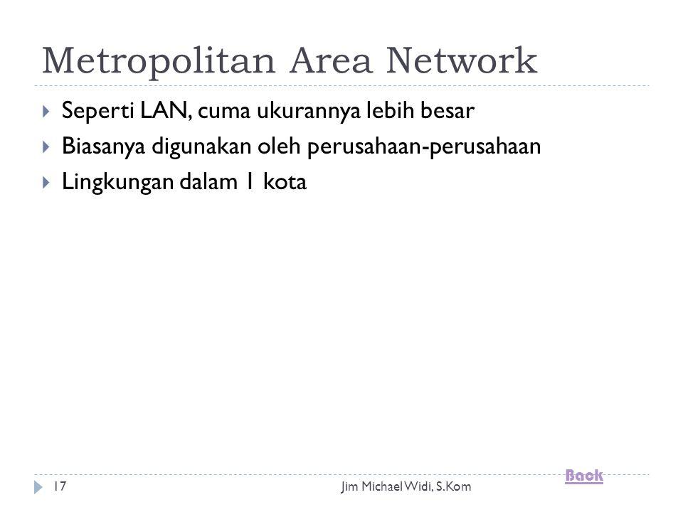 Jim Michael Widi, S.Kom17 Metropolitan Area Network  Seperti LAN, cuma ukurannya lebih besar  Biasanya digunakan oleh perusahaan-perusahaan  Lingkungan dalam 1 kota Back