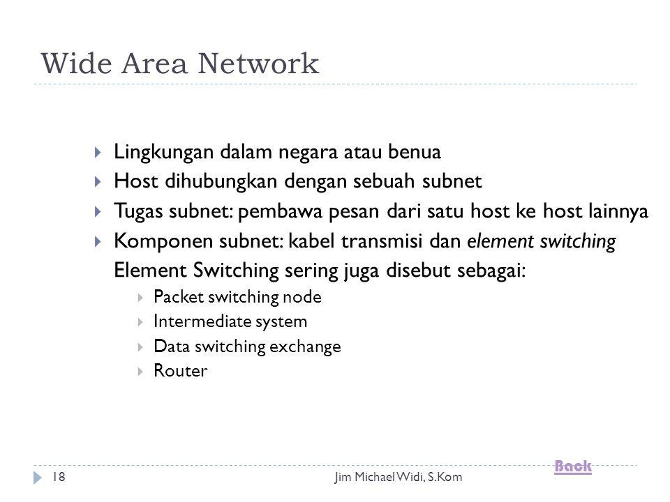 Jim Michael Widi, S.Kom18 Wide Area Network  Lingkungan dalam negara atau benua  Host dihubungkan dengan sebuah subnet  Tugas subnet: pembawa pesan dari satu host ke host lainnya  Komponen subnet: kabel transmisi dan element switching Element Switching sering juga disebut sebagai:  Packet switching node  Intermediate system  Data switching exchange  Router Back