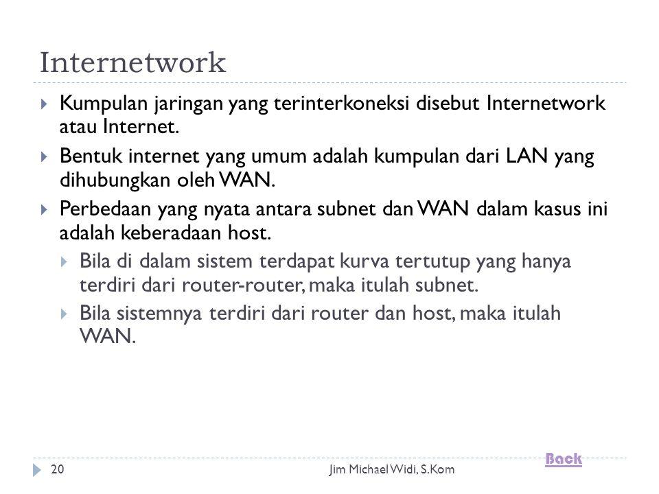 Jim Michael Widi, S.Kom20 Internetwork  Kumpulan jaringan yang terinterkoneksi disebut Internetwork atau Internet.