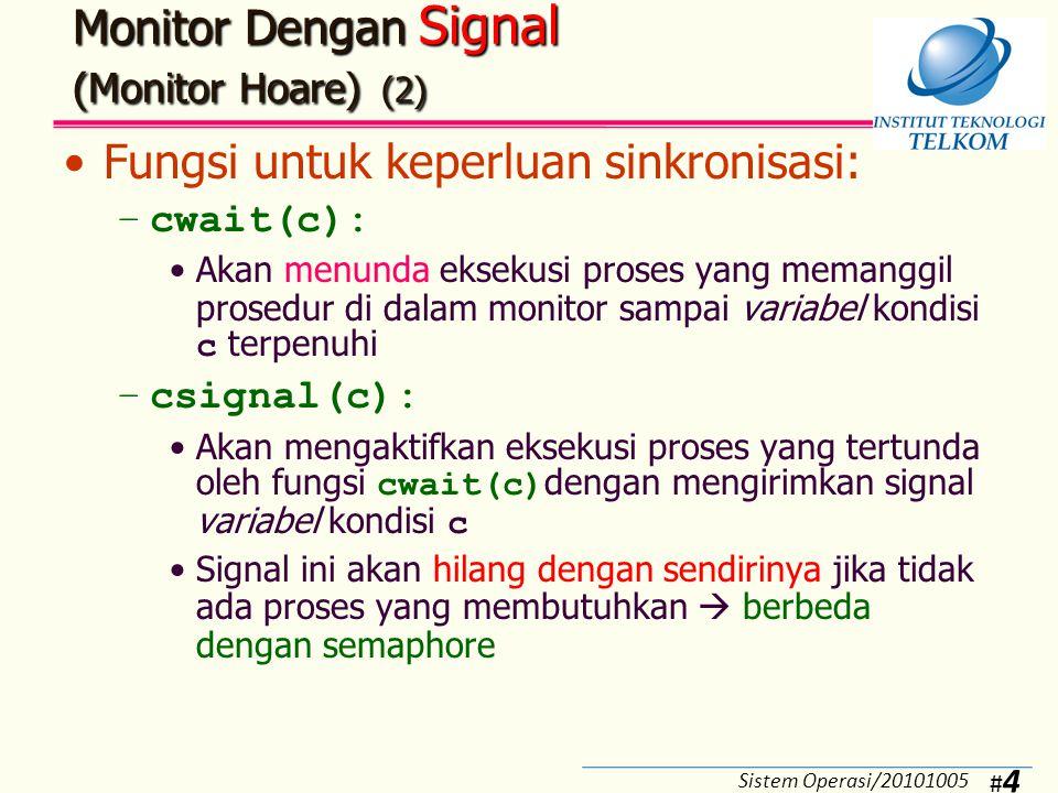 #5#5 Monitor Dengan Signal (Monitor Hoare) (3) Struktur monitor: Sistem Operasi/20101005