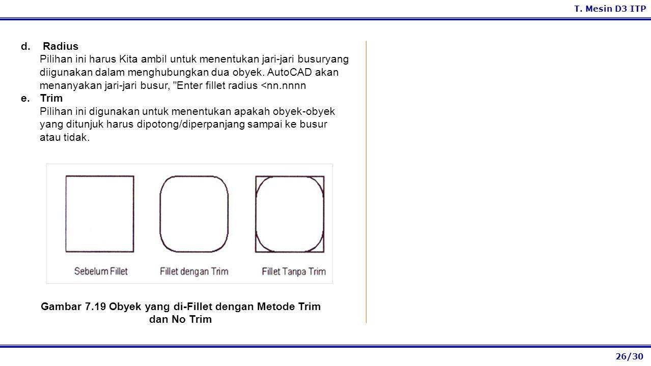 26/30 T. Mesin D3 ITP d. Radius Pilihan ini harus Kita ambil untuk menentukan jari-jari busuryang diigunakan dalam menghubungkan dua obyek. AutoCAD ak