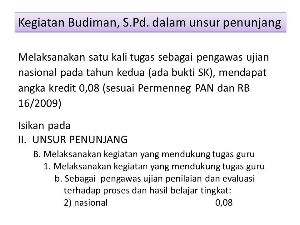 Kegiatan Budiman, S.Pd. dalam unsur penunjang Melaksanakan satu kali tugas sebagai pengawas ujian nasional pada tahun kedua (ada bukti SK), mendapat a