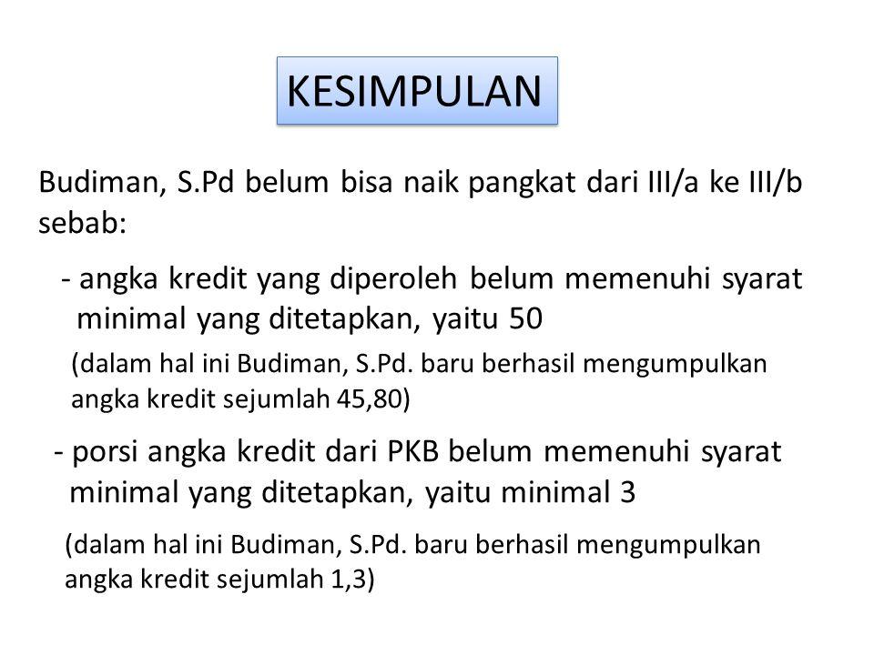 Budiman, S.Pd belum bisa naik pangkat dari III/a ke III/b sebab: - angka kredit yang diperoleh belum memenuhi syarat minimal yang ditetapkan, yaitu 50