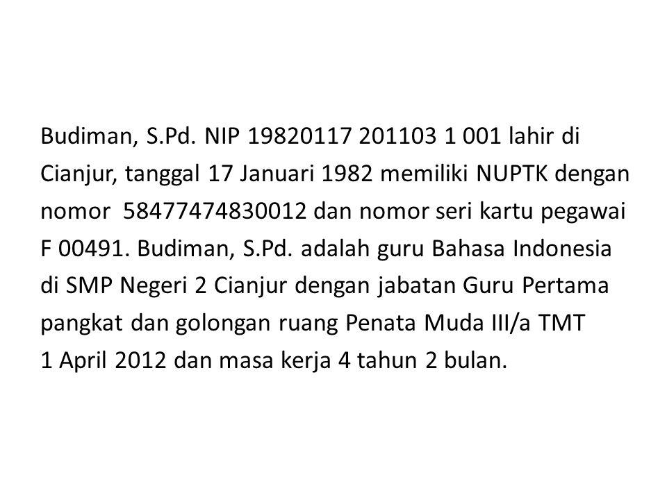 Budiman, S.Pd. NIP 19820117 201103 1 001 lahir di Cianjur, tanggal 17 Januari 1982 memiliki NUPTK dengan nomor 58477474830012 dan nomor seri kartu peg