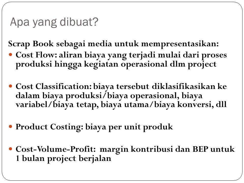 Apa yang dibuat? Scrap Book sebagai media untuk mempresentasikan: Cost Flow: aliran biaya yang terjadi mulai dari proses produksi hingga kegiatan oper