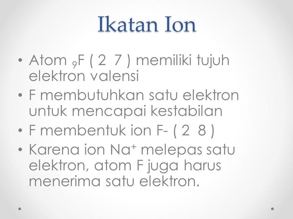 Ikatan Ion Atom 9 F ( 2 7 ) memiliki tujuh elektron valensi F membutuhkan satu elektron untuk mencapai kestabilan F membentuk ion F- ( 2 8 ) Karena ion Na + melepas satu elektron, atom F juga harus menerima satu elektron.