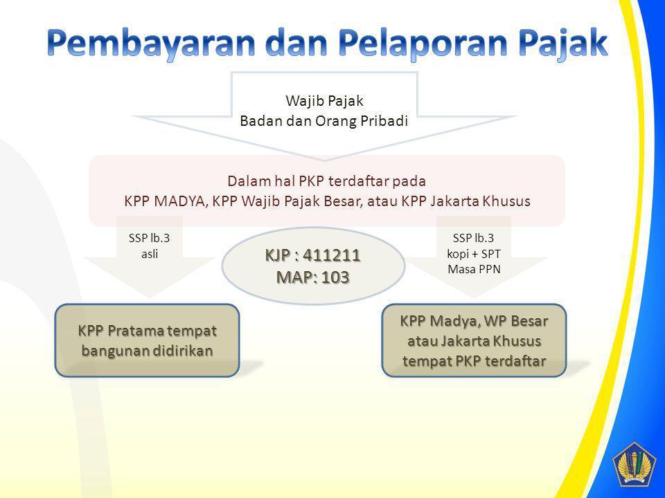Wajib Pajak Badan dan Orang Pribadi Dalam hal PKP terdaftar pada KPP MADYA, KPP Wajib Pajak Besar, atau KPP Jakarta Khusus SSP lb.3 asli SSP lb.3 kopi