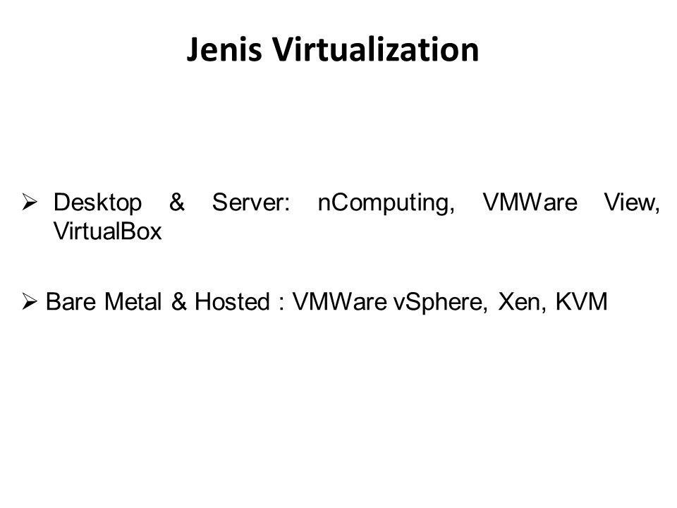 Jenis Virtualization  Desktop & Server: nComputing, VMWare View, VirtualBox  Bare Metal & Hosted : VMWare vSphere, Xen, KVM