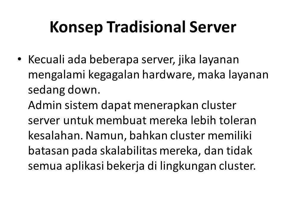 Konsep Tradisional Server Kecuali ada beberapa server, jika layanan mengalami kegagalan hardware, maka layanan sedang down. Admin sistem dapat menerap