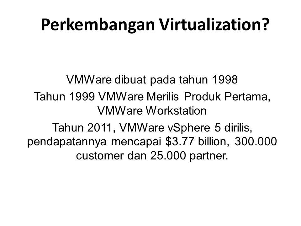 Perkembangan Virtualization? VMWare dibuat pada tahun 1998 Tahun 1999 VMWare Merilis Produk Pertama, VMWare Workstation Tahun 2011, VMWare vSphere 5 d