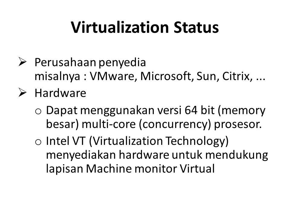 Virtualization Status  Perusahaan penyedia misalnya : VMware, Microsoft, Sun, Citrix,...  Hardware o Dapat menggunakan versi 64 bit (memory besar) m