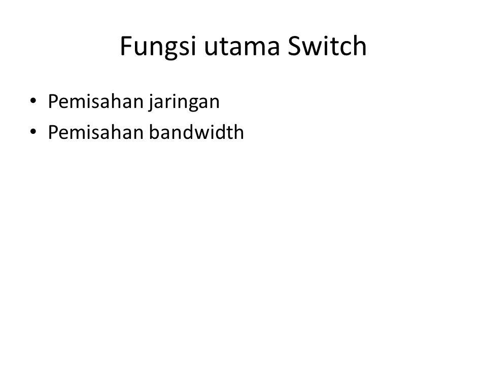 Fungsi utama Switch Pemisahan jaringan Pemisahan bandwidth