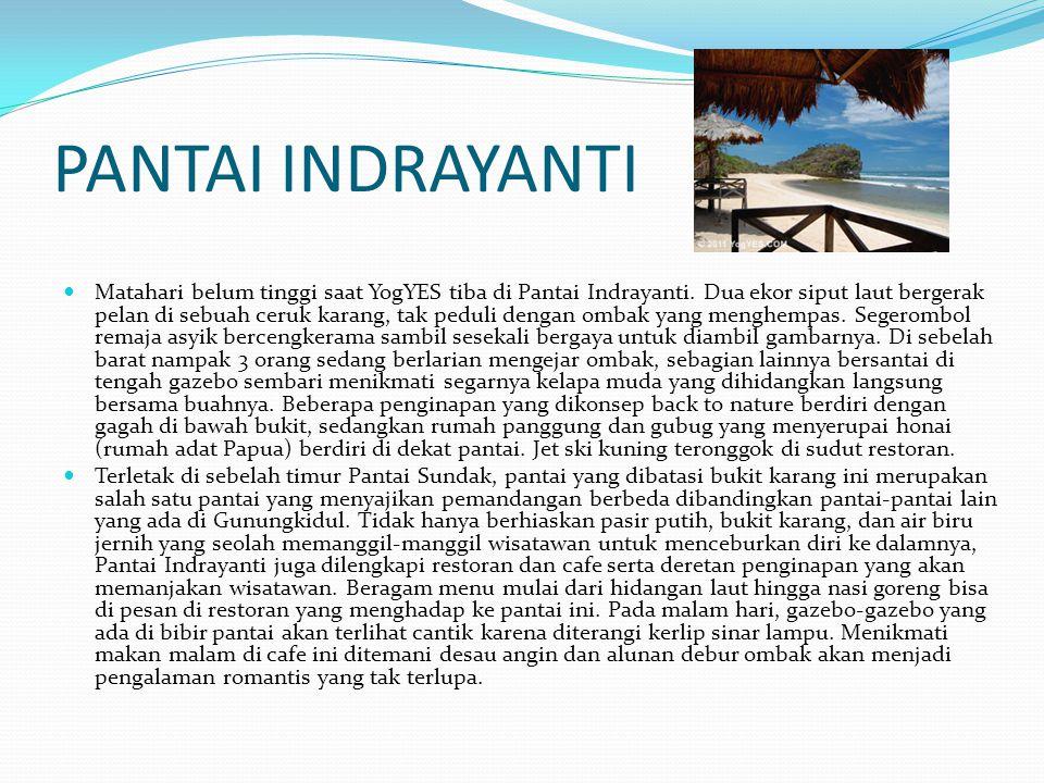 PANTAI INDRAYANTI Matahari belum tinggi saat YogYES tiba di Pantai Indrayanti. Dua ekor siput laut bergerak pelan di sebuah ceruk karang, tak peduli d