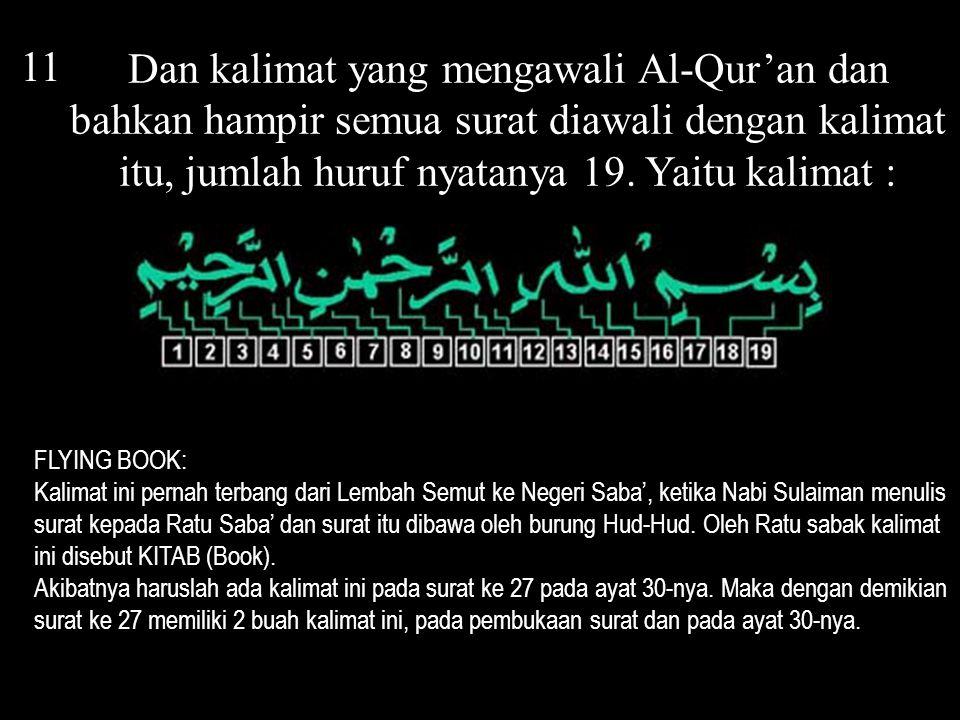 12 Sepertinya Al-Qur'an telah dapat jatah kalimat itu sebanyak suratnya, yaitu 114 = 6 x 19.