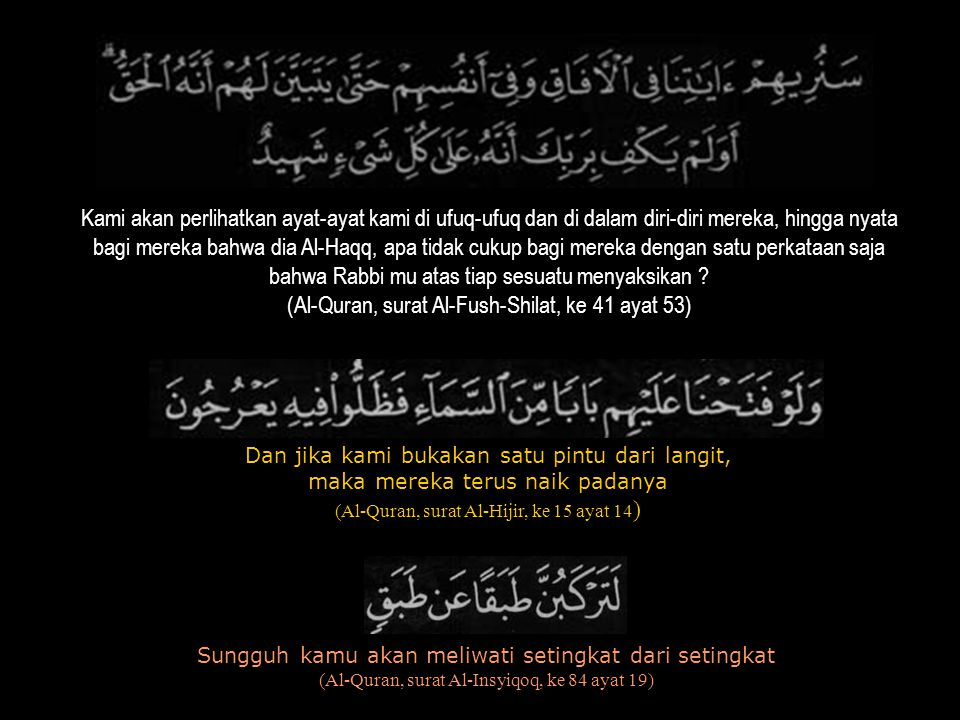 Kami akan perlihatkan ayat-ayat kami di ufuq-ufuq dan di dalam diri-diri mereka, hingga nyata bagi mereka bahwa dia Al-Haqq, apa tidak cukup bagi mere