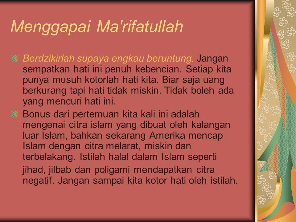 Menggapai Ma rifatullah Sebelum tidur berwudhu, baca Al-Qur an walau cuma sepuluh ayat dan pamit dengan istri.
