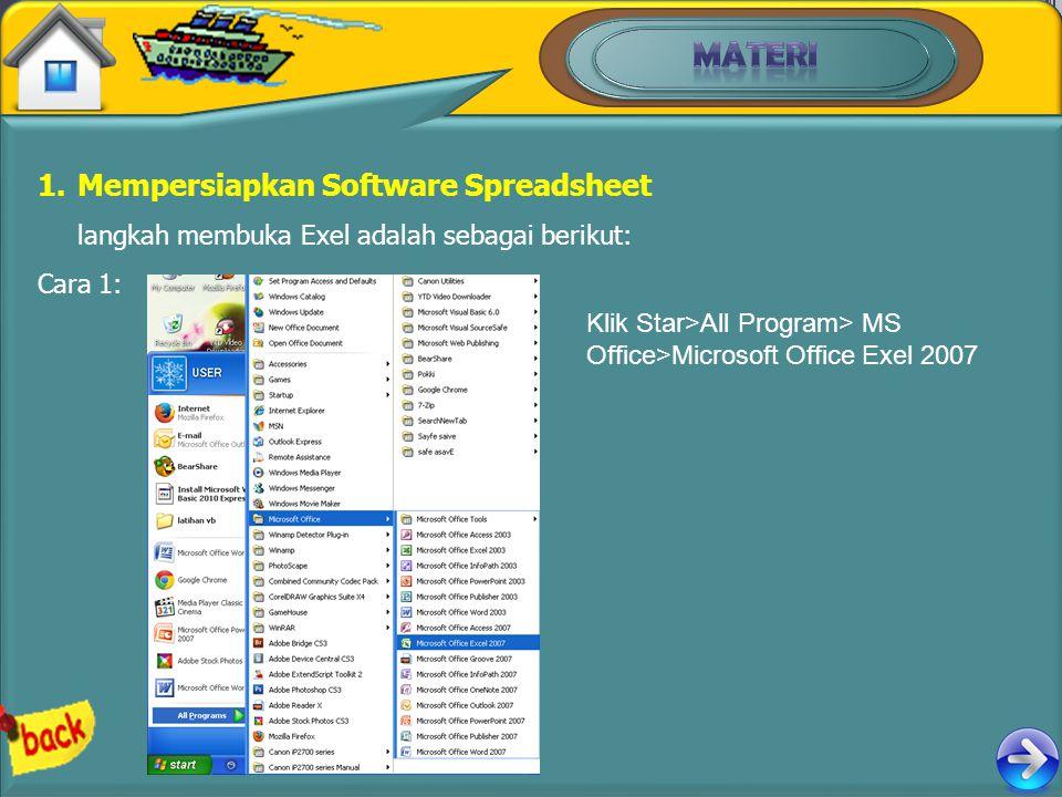1.Mempersiapkan Software Spreadsheet langkah membuka Exel adalah sebagai berikut: Cara 1: Klik Star>All Program> MS Office>Microsoft Office Exel 2007