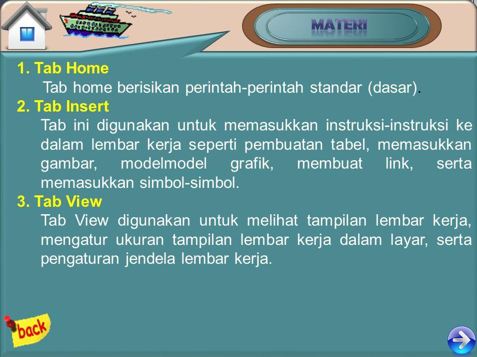 1. Tab Home Tab home berisikan perintah-perintah standar (dasar). 2. Tab Insert Tab ini digunakan untuk memasukkan instruksi-instruksi ke dalam lembar