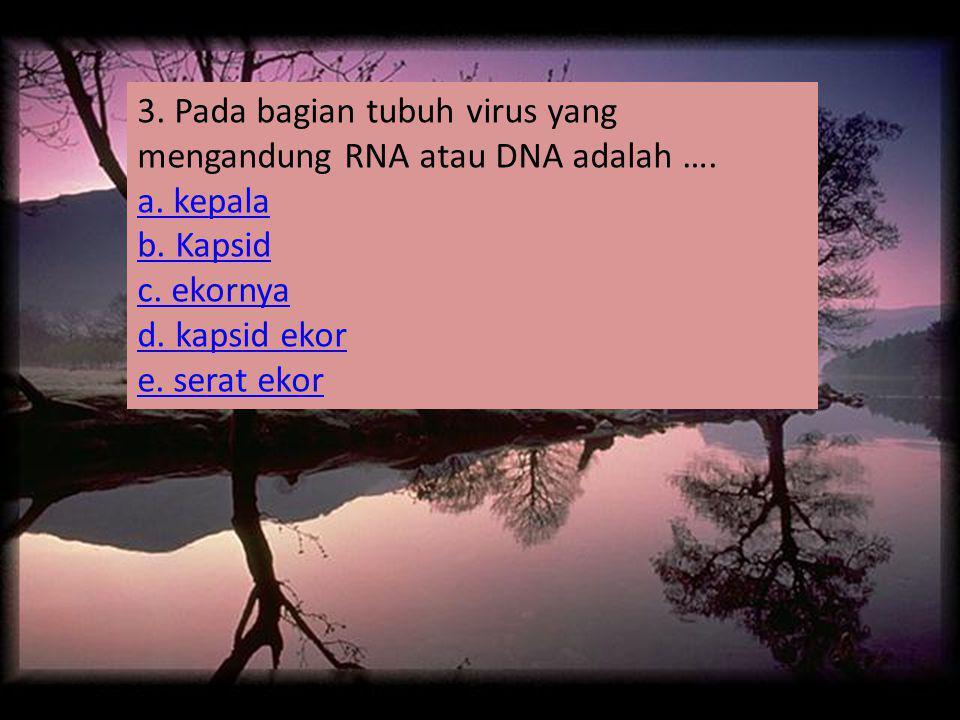3. Pada bagian tubuh virus yang mengandung RNA atau DNA adalah …. a. kepala b. Kapsid c. ekornya d. kapsid ekor e. serat ekor