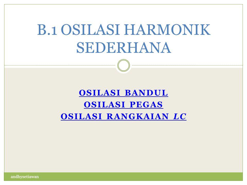 B.1 OSILASI HARMONIK SEDERHANA OSILASI BANDUL OSILASI PEGAS OSILASI RANGKAIAN LC andhysetiawan