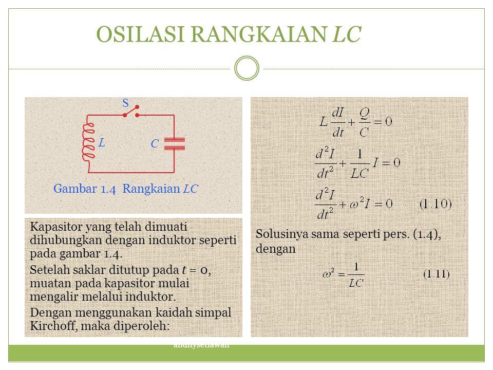 OSILASI RANGKAIAN LC Solusinya sama seperti pers. (1.4), dengan Kapasitor yang telah dimuati dihubungkan dengan induktor seperti pada gambar 1.4. Sete