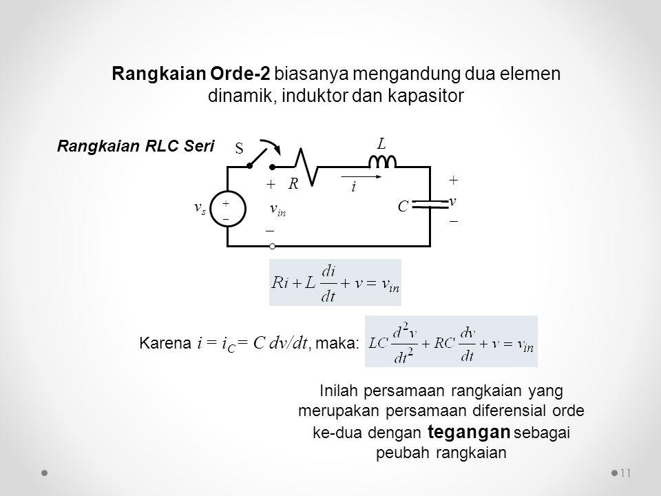 Karena i = i C = C dv/dt, maka: Inilah persamaan rangkaian yang merupakan persamaan diferensial orde ke-dua dengan tegangan sebagai peubah rangkaian R