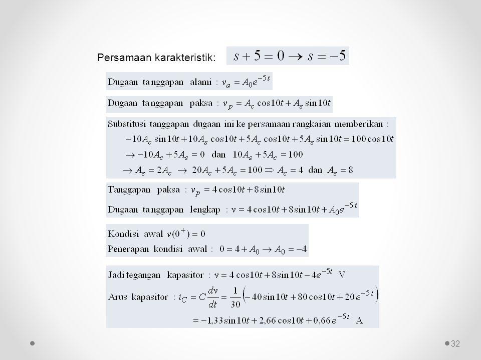 Persamaan karakteristik: 32