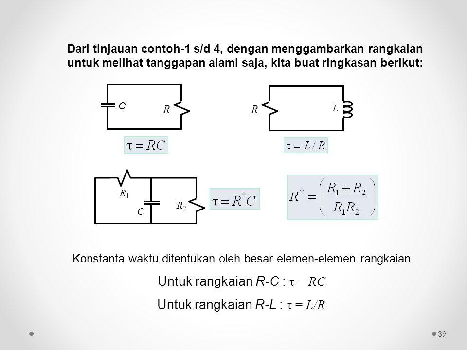 Konstanta waktu ditentukan oleh besar elemen-elemen rangkaian Untuk rangkaian R-C :  = RC Untuk rangkaian R-L :  = L/R Dari tinjauan contoh-1 s/d 4,
