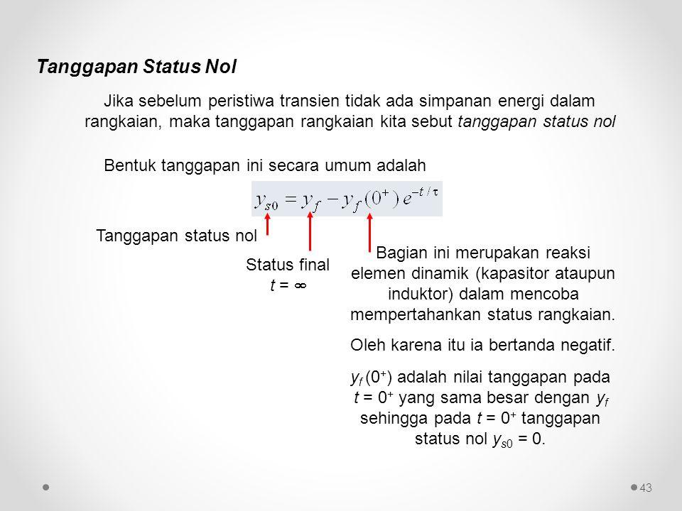 Tanggapan Status Nol Jika sebelum peristiwa transien tidak ada simpanan energi dalam rangkaian, maka tanggapan rangkaian kita sebut tanggapan status n