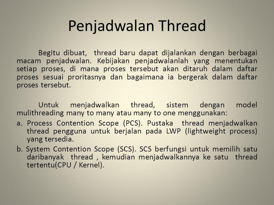 Penjadwalan Thread Begitu dibuat, thread baru dapat dijalankan dengan berbagai macam penjadwalan. Kebijakan penjadwalanlah yang menentukan setiap pros