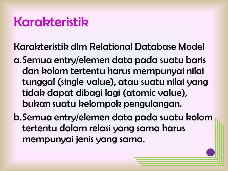 Karakteristik Karakteristik dlm Relational Database Model a.Semua entry/elemen data pada suatu baris dan kolom tertentu harus mempunyai nilai tunggal