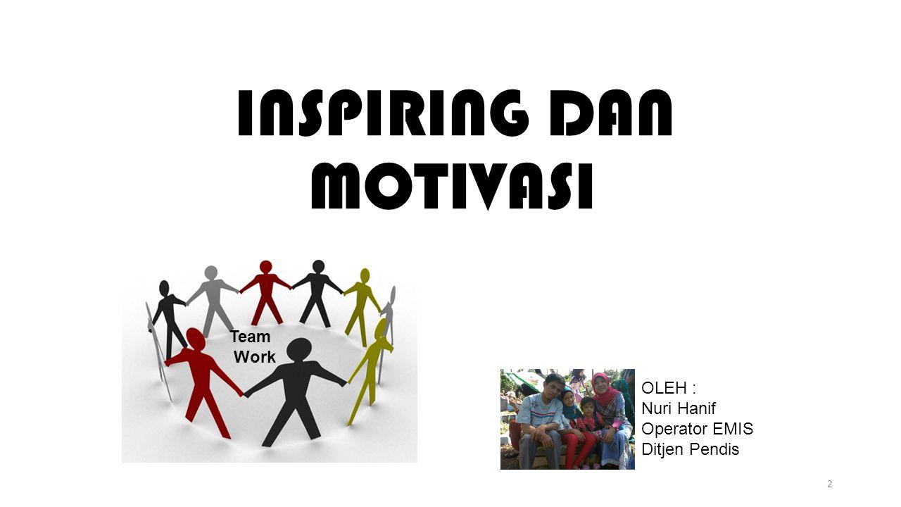 INSPIRING DAN MOTIVASI 2 OLEH : Nuri Hanif Operator EMIS Ditjen Pendis Team Work