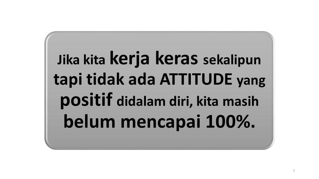 Jika kita kerja keras sekalipun tapi tidak ada ATTITUDE yang positif didalam diri, kita masih belum mencapai 100%. 7