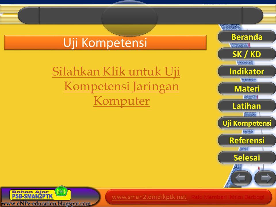 www.sman2.dindikptk.net www.sman2.dindikptk.net Rela Memberi Ikhlas Berbagi www.sman2.dindikptk.net www.sman2.dindikptk.net Rela Memberi Ikhlas Berbagi Uji Kompetensi Silahkan Klik untuk Uji Kompetensi Jaringan Komputer Beranda SK / KD Indikator Materi Latihan Referensi Selesai Uji Kompetensi