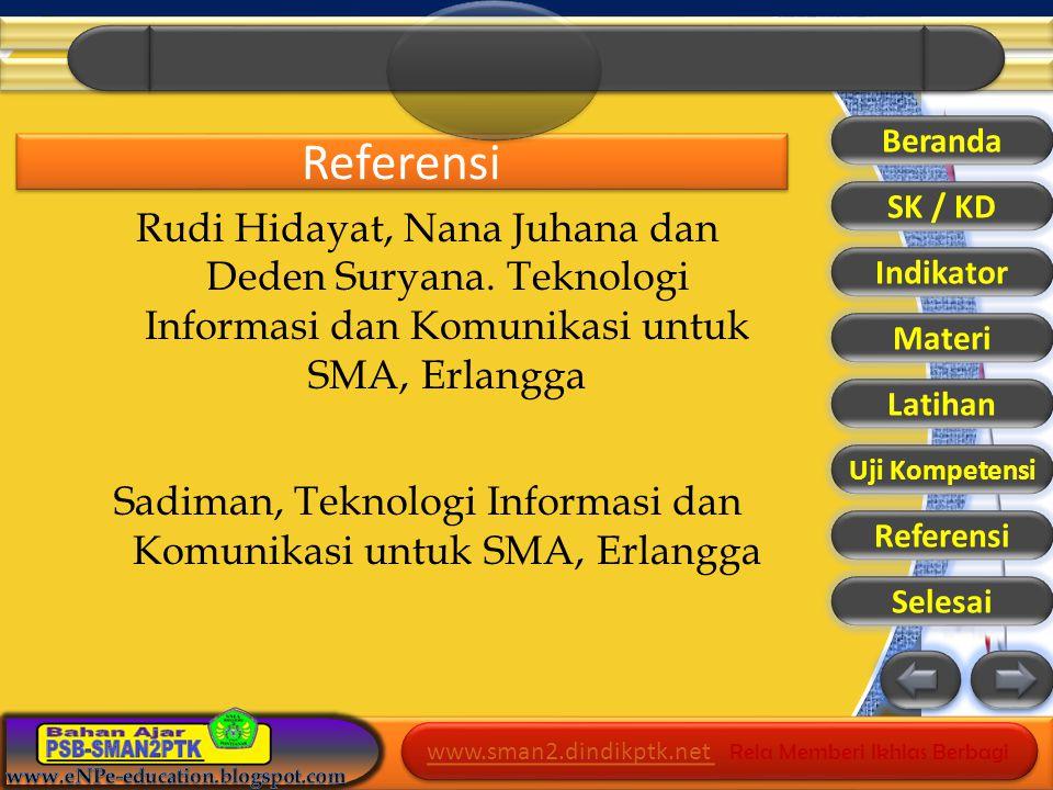 www.sman2.dindikptk.net www.sman2.dindikptk.net Rela Memberi Ikhlas Berbagi www.sman2.dindikptk.net www.sman2.dindikptk.net Rela Memberi Ikhlas Berbagi Referensi Rudi Hidayat, Nana Juhana dan Deden Suryana.
