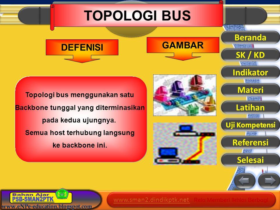 www.sman2.dindikptk.net www.sman2.dindikptk.net Rela Memberi Ikhlas Berbagi www.sman2.dindikptk.net www.sman2.dindikptk.net Rela Memberi Ikhlas Berbagi Beranda SK / KD Indikator Materi Latihan Referensi Selesai Topologi bus menggunakan satu Backbone tunggal yang diterminasikan pada kedua ujungnya.