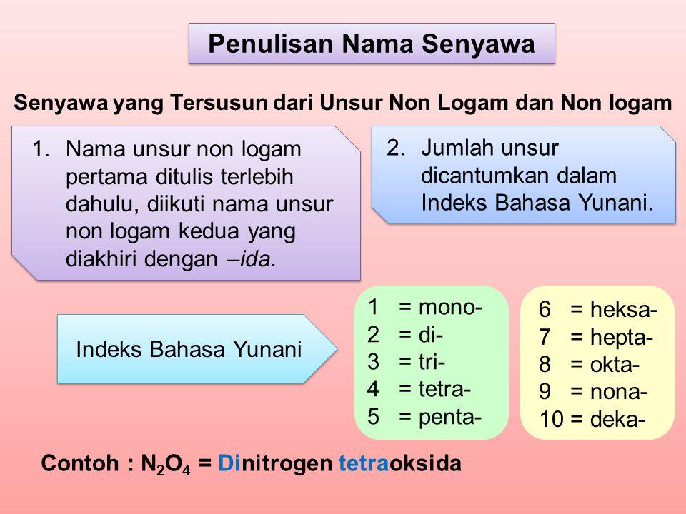 2.Jumlah unsur dicantumkan dalam Indeks Bahasa Yunani. 1.Nama unsur non logam pertama ditulis terlebih dahulu, diikuti nama unsur non logam kedua yang
