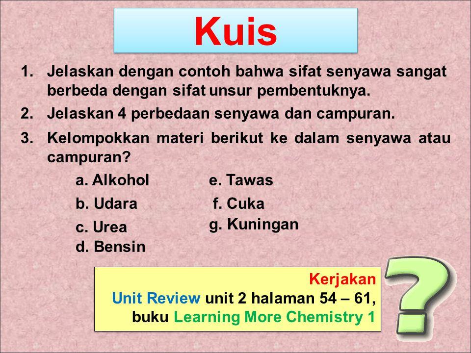 Kuis 3.Kelompokkan materi berikut ke dalam senyawa atau campuran? 1.Jelaskan dengan contoh bahwa sifat senyawa sangat berbeda dengan sifat unsur pembe