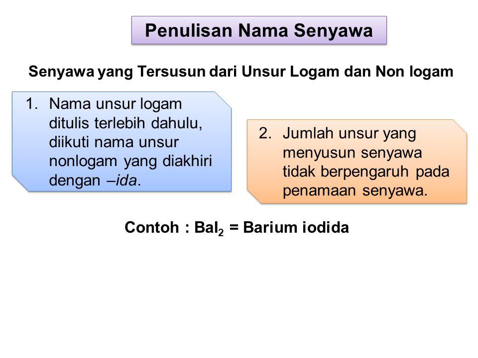 1.Nama unsur logam ditulis terlebih dahulu, diikuti nama unsur nonlogam yang diakhiri dengan –ida. 2.Jumlah unsur yang menyusun senyawa tidak berpenga