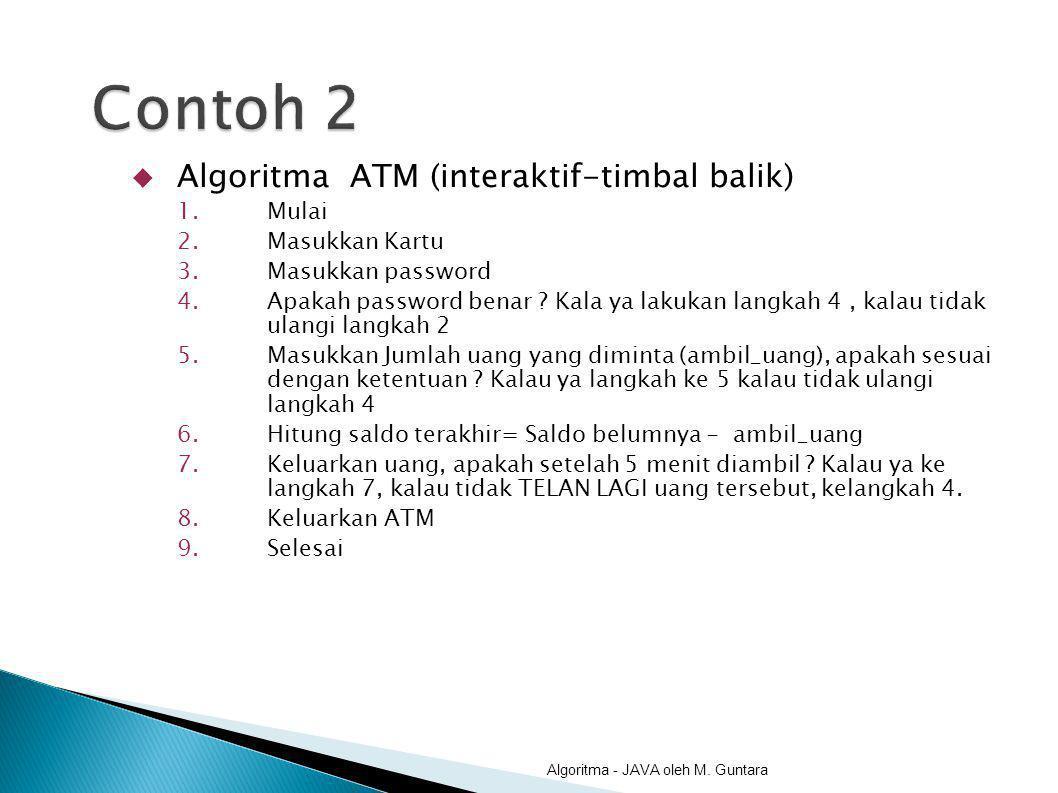  Algoritma ATM (interaktif-timbal balik) 1.Mulai 2.Masukkan Kartu 3.Masukkan password 4.Apakah password benar ? Kala ya lakukan langkah 4, kalau tida