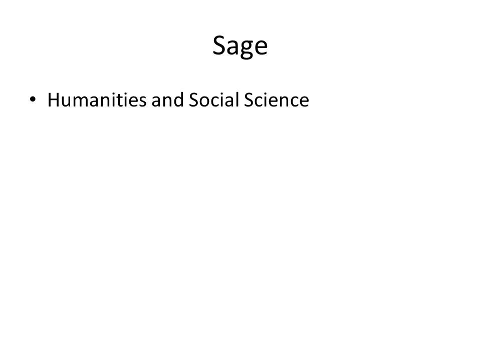 Sage Humanities and Social Science