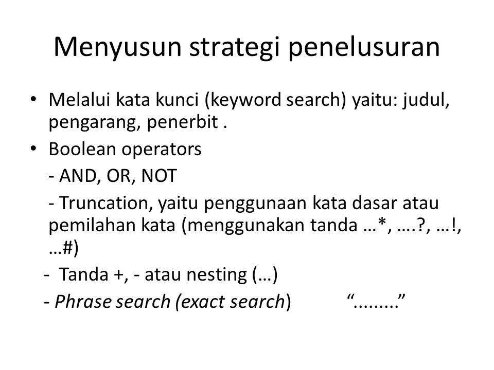 Menyusun strategi penelusuran Melalui kata kunci (keyword search) yaitu: judul, pengarang, penerbit.