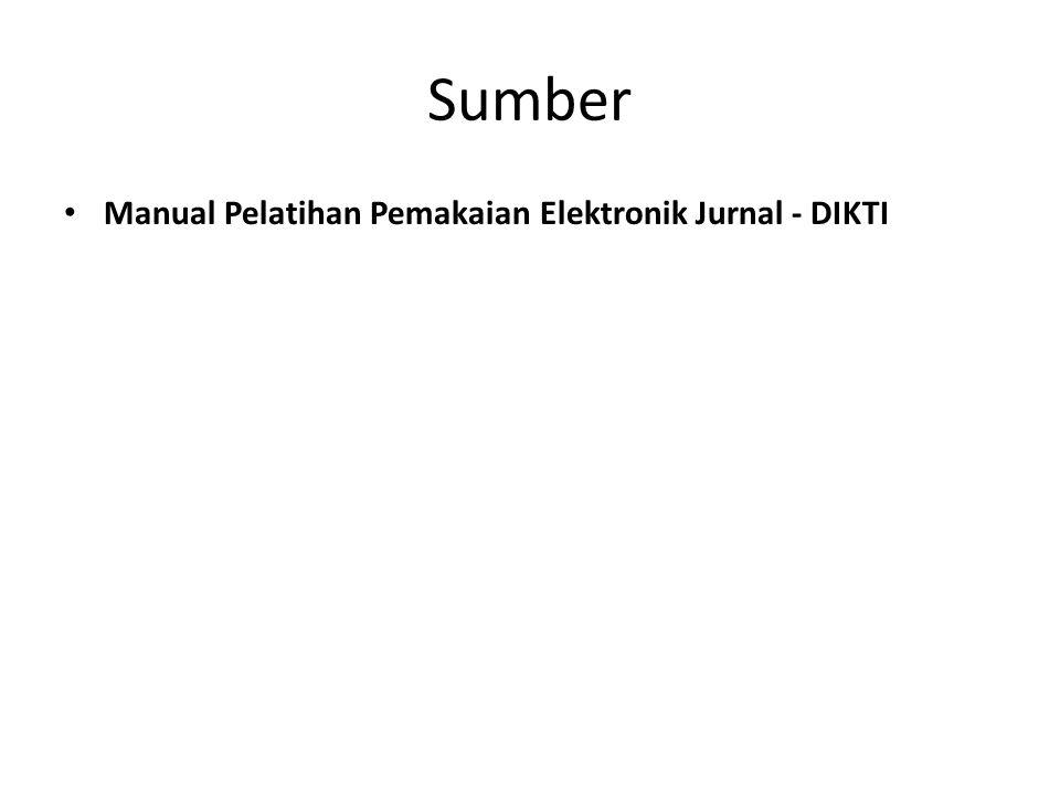 Sumber Manual Pelatihan Pemakaian Elektronik Jurnal - DIKTI