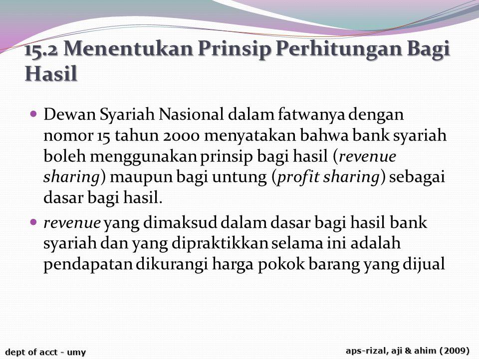 dept of acct - umy aps-rizal, aji & ahim (2009) 15.2 Menentukan Prinsip Perhitungan Bagi Hasil Dewan Syariah Nasional dalam fatwanya dengan nomor 15 t