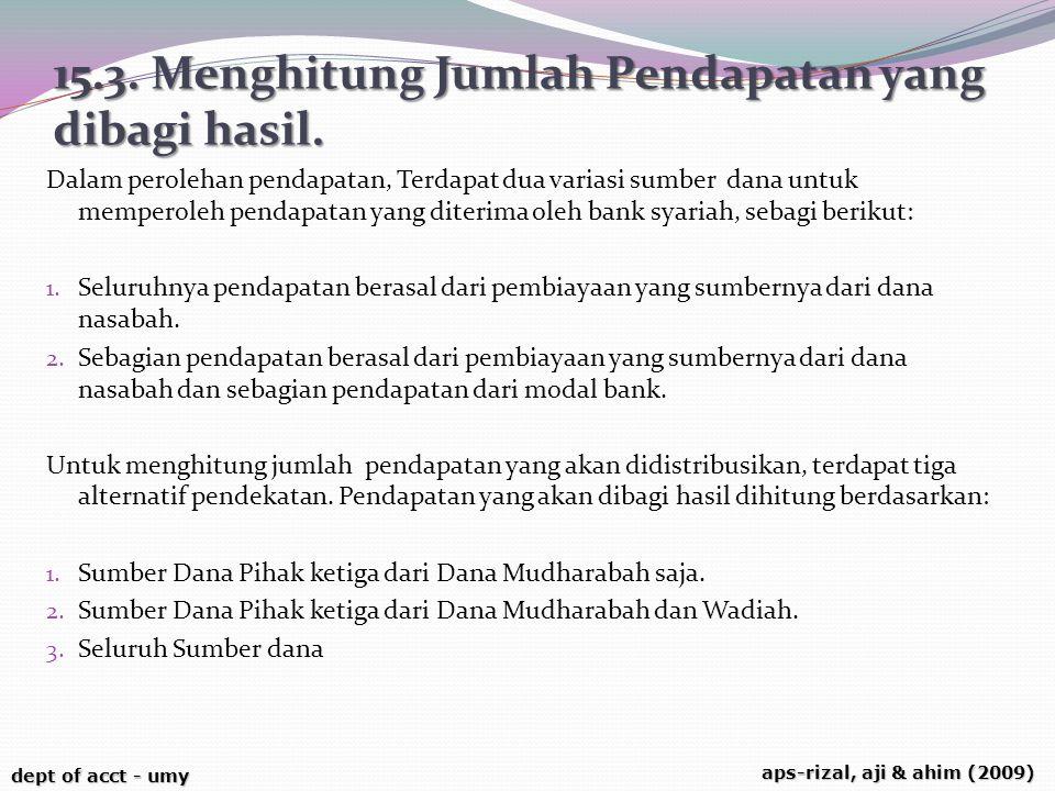 dept of acct - umy aps-rizal, aji & ahim (2009) 15.3. Menghitung Jumlah Pendapatan yang dibagi hasil. Dalam perolehan pendapatan, Terdapat dua variasi